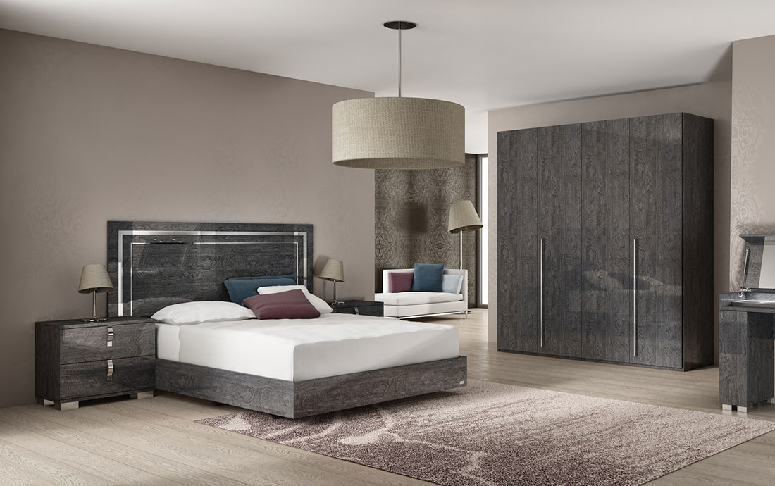 Sarah Grey Birch Italian Bed And Bedroom Furniture Sets